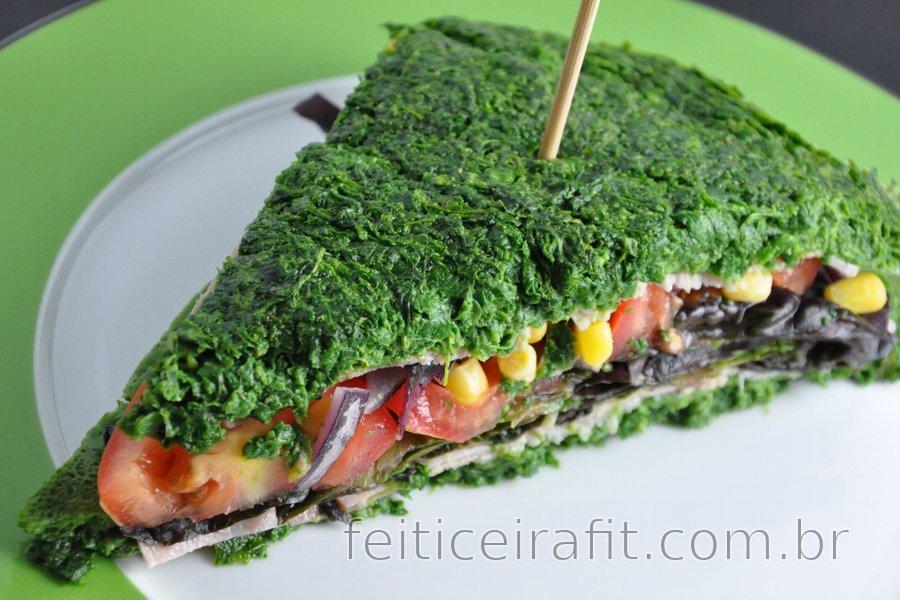 Sanduíche de espinafre diet sem glúten