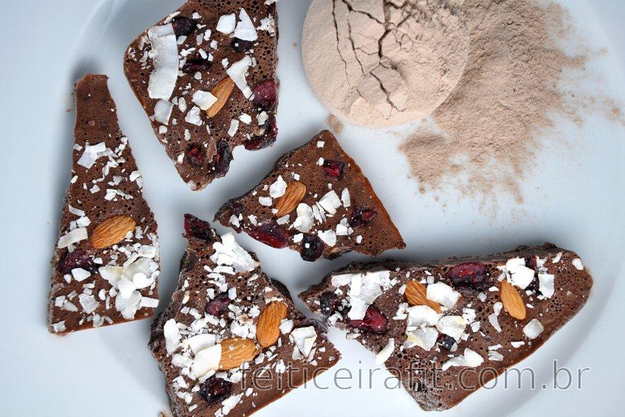 """Chocolate"" proteico sem açúcar"