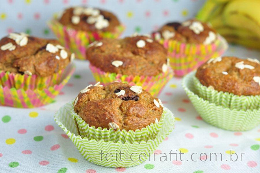 Receita de muffins de banana e aveia saudáveis