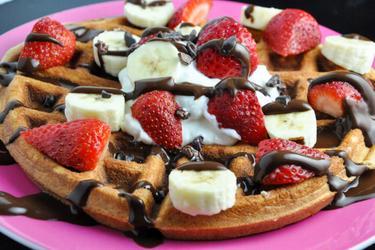 Waffles/panquecas sem glúten e muita proteína