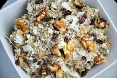 Quinoa com queijo quark/cottage