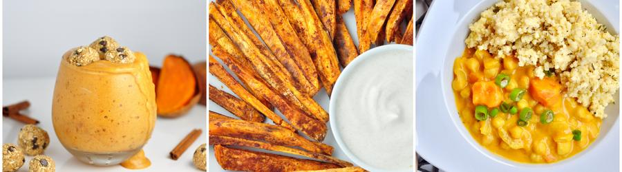 Receitas veganas saudáveis com batata-doce
